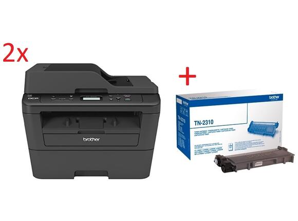 Мултифункционално у-во 2x Brother DCP-L2520DW Laser Multifunctional + Brother TN-2310 Toner Cartridge Standard
