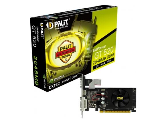 Видеокарта PALIT GeForce GT 520 2GB (2048MB DDR3)