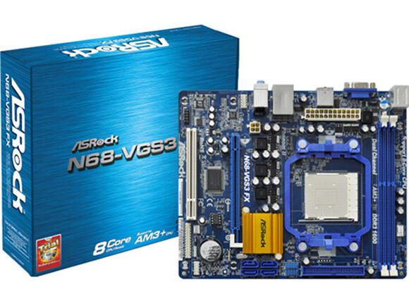 Дънна платка ASROCK N68-VGS3 UCC, AM3, GeForce 7025 / nForce 630a