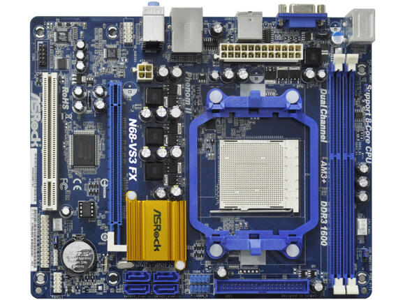 Дънна платка ASROCK N68-VS3 FX, GeForce 7025 / nForce 630a, AM3