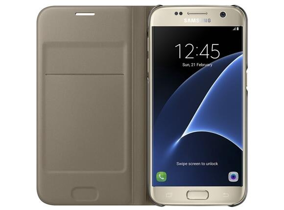 Калъф Samsung G930 FlipWallet Gold for GalaxyS7