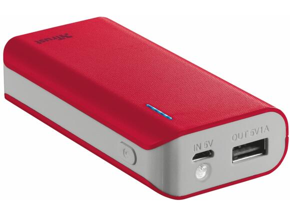 Захранване TRUST Primo Power Bank 4400 Portable Charger - red