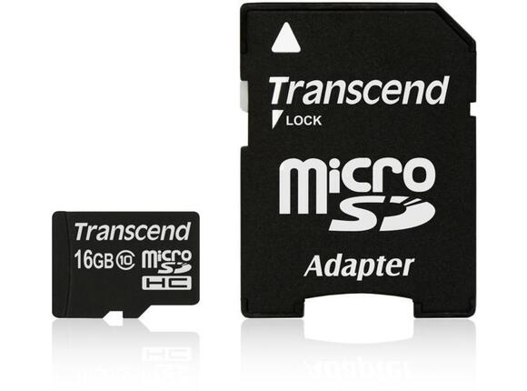 Флаш карта Памет Transcend 16GB microSDHC Class10 with adapter - 3