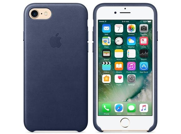 Калъф Apple iPhone 7 Leather Case - Midnight Blue - 5