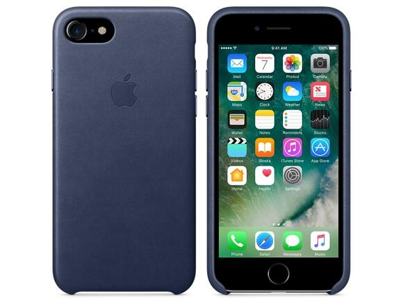 Калъф Apple iPhone 7 Leather Case - Midnight Blue - 2