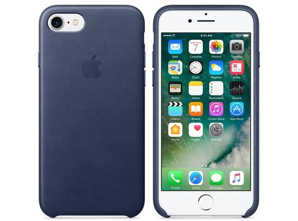 Калъф Apple iPhone 7 Leather Case - Midnight Blue - 4