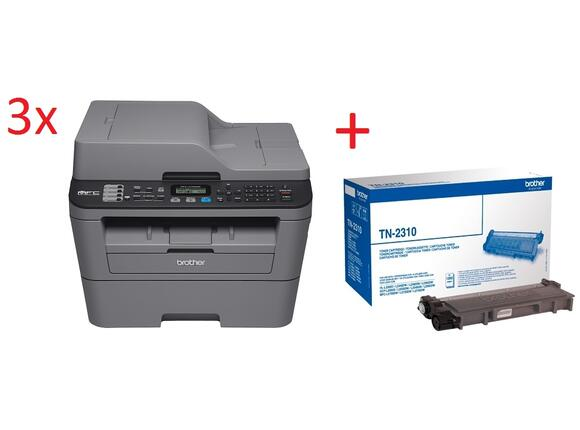 Мултифункционално у-во 3x Brother MFC-L2700DN Laser Multifunctional + Brother TN-2310 Toner Cartridge Standard