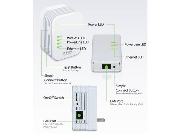 Адаптери и зарядни D-Link PowerLine AV 500 Wireless N Mini Extender - 2