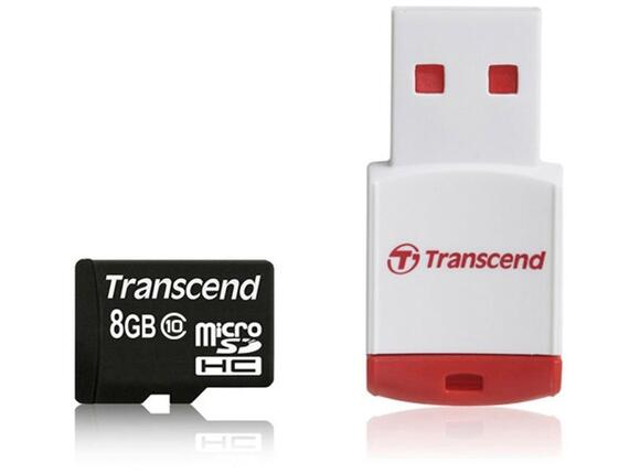 Флаш карта Transcend 8GB micro SDHC (with reader - Class 10)