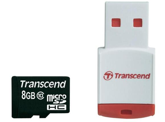 Флаш карта Transcend 8GB micro SDHC (with reader - Class 10) - 2