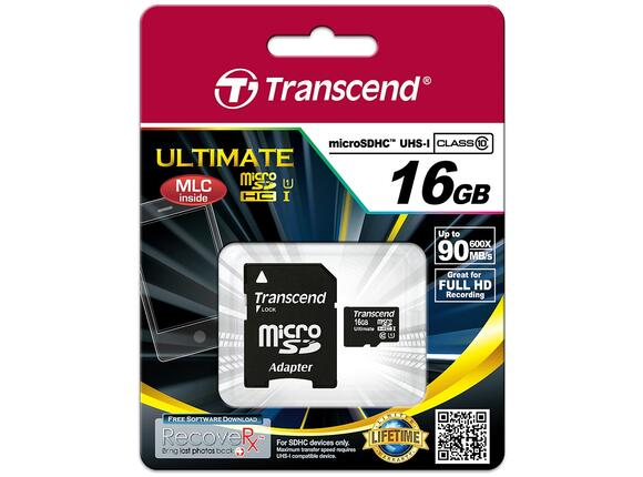 Флаш карта Transcend 16GB micro SDHC UHS-I Ultimate (with adapter - 2