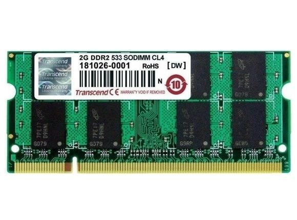 Памет Transcend 2GB 200pin SO-DIMM DDR2 PC533 CL4 Gold Lead