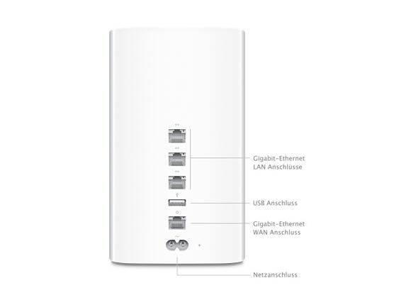 Рутер Apple Рутер AC1600 (300 + 1300 Mbps) Apple AirPort Time Capsule - with 2TB Network Storage, 802.11ac Wi-Fi Dual Band , 3 port Gigabit Ethernet Router with USB printer and disk sharing - 2