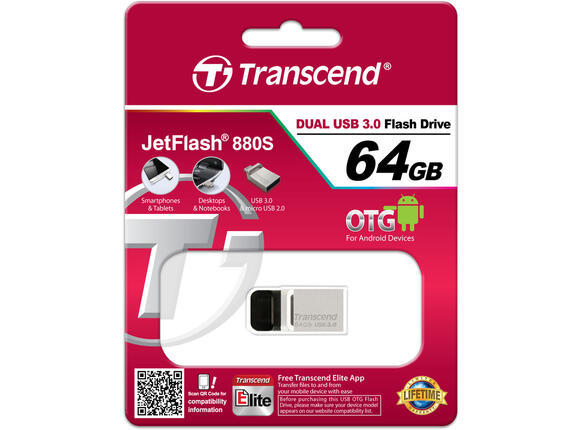 Флаш памет Флаш памет Transcend 64GB JetFlash 880 On-The-Go for ANDROID - 4