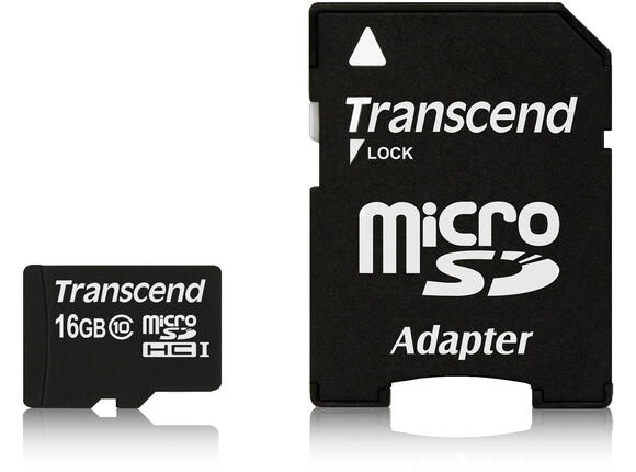 Флаш карта Памет Transcend 16GB microSDHC Class10 with adapter - 4
