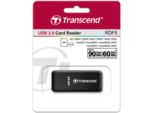 Оптично устройство Transcend RDF5 USB 3.0 card reader, Supports next-generation memory cards including SDHC UHS-I, SDXC UHS-I, micro SDHC UHS-I, micro SDXC UHS-I